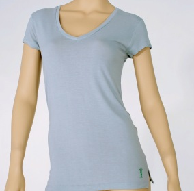 Casualmere® Womens V-neck cap-sleeve top.