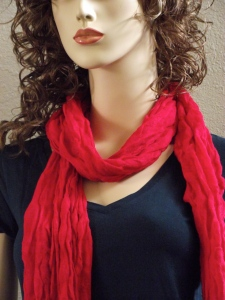 Casualmere® Red Crinkle knit bamboo scarf with black bamboo T-top.