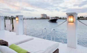 Lounge chairs overlook the Intercoastal
