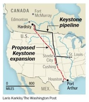 Map of Keystone pipeline and XL addition