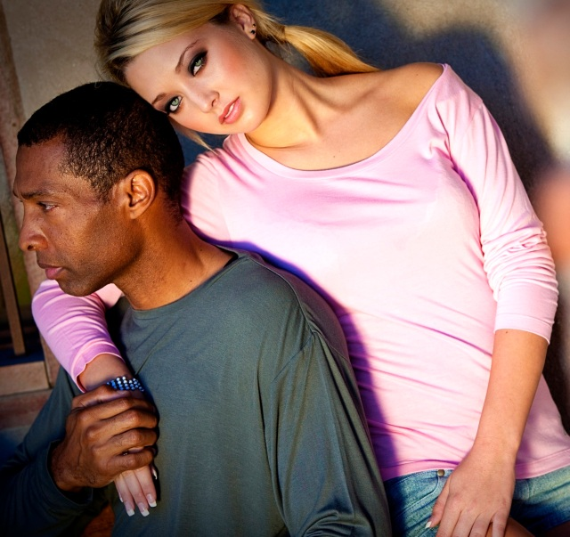 Casualmere® pink women's long sleeve top shown with 6109 men's Olive long sleeve t-shirt.