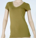 10159 TAN Womens V-neck, cap sleeve top in 100% bamboo Casualmere®