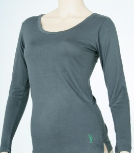 5309 Olive Grey LS women's 100% bamboo top