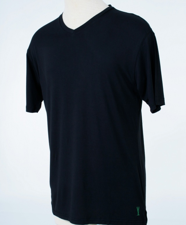 Black Men's 100% bambo luxury tee shirt, V-neck and fitted.