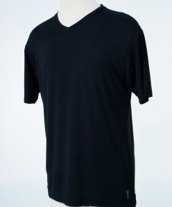 Black color Mens v-neck fitted T-shirt from Casualmere®