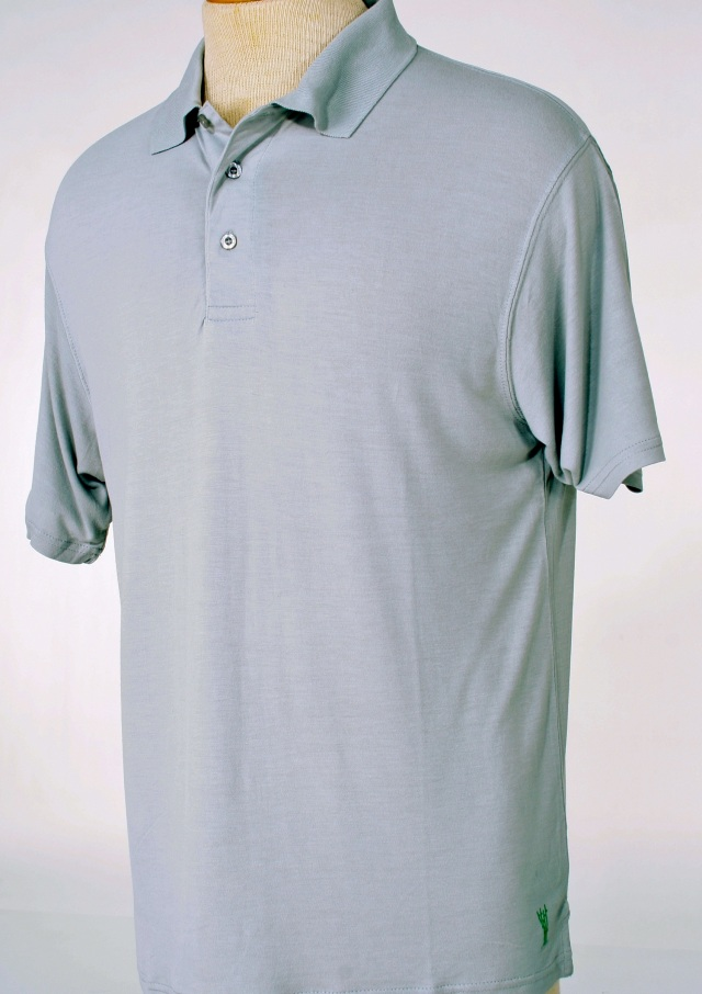 Lt Grey moisture wicking 100% bamboo golf shirt from Casualmere