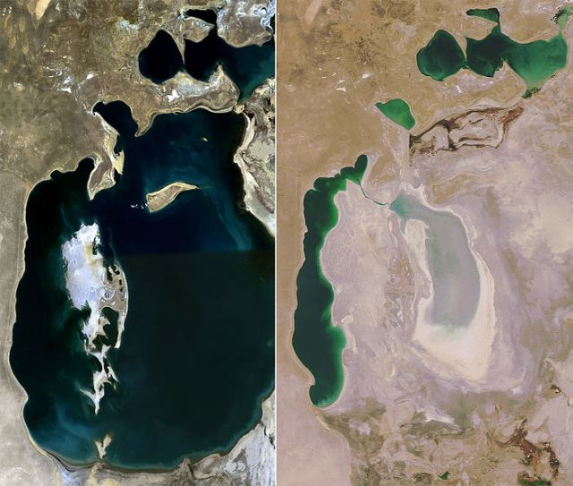 "Formerly 3rd largest lake in the world over the years of water diversion for watering ""white gold"" cotton crops.."