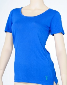100% bamboo jersey knit shirt for her in Cobalt Blue.
