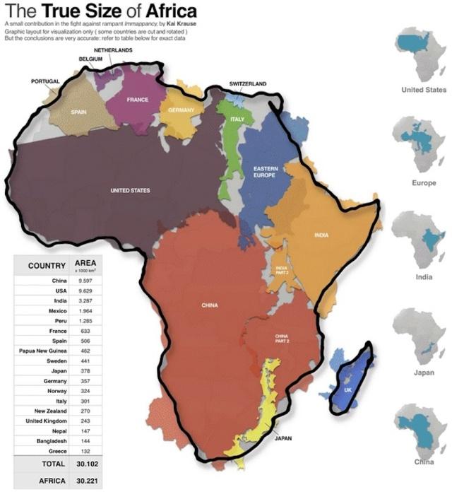 Africa Map - True Size